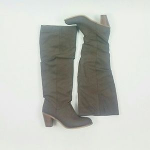Just Fab Hallory gray knee high heel boot size 11